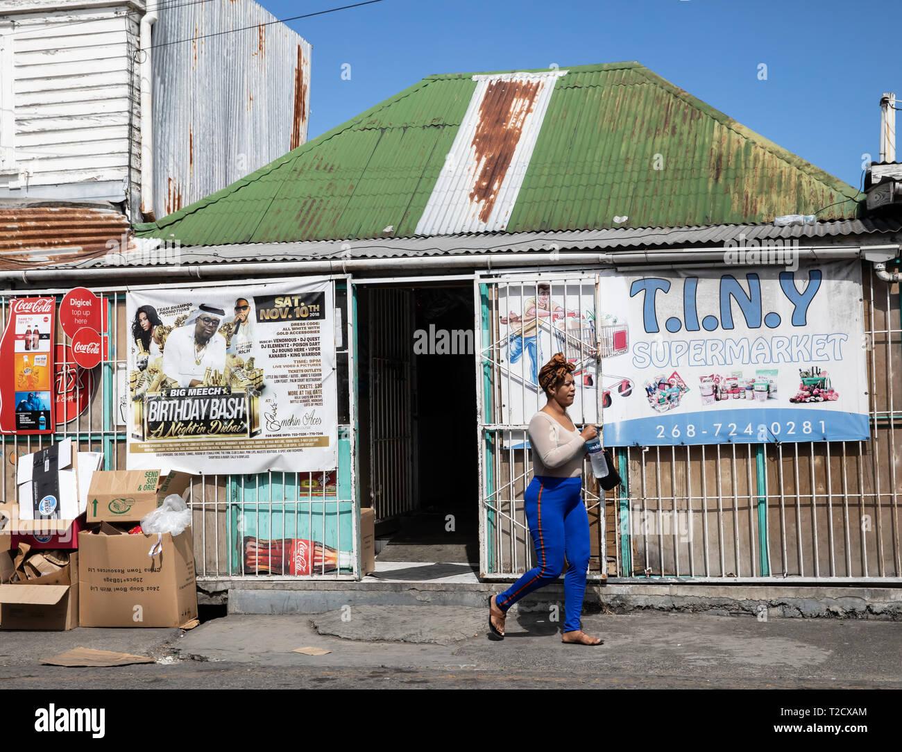 Tiny store in Saint John's, Capital of Antigua and Barbuda Stock Photo