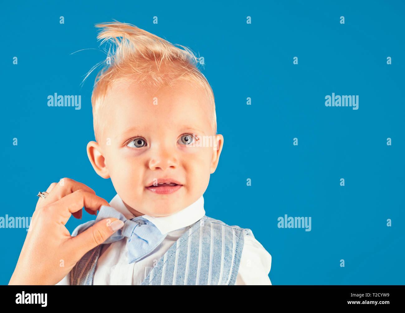 My hair my look. Boy child with stylish blond hair. Little child ...