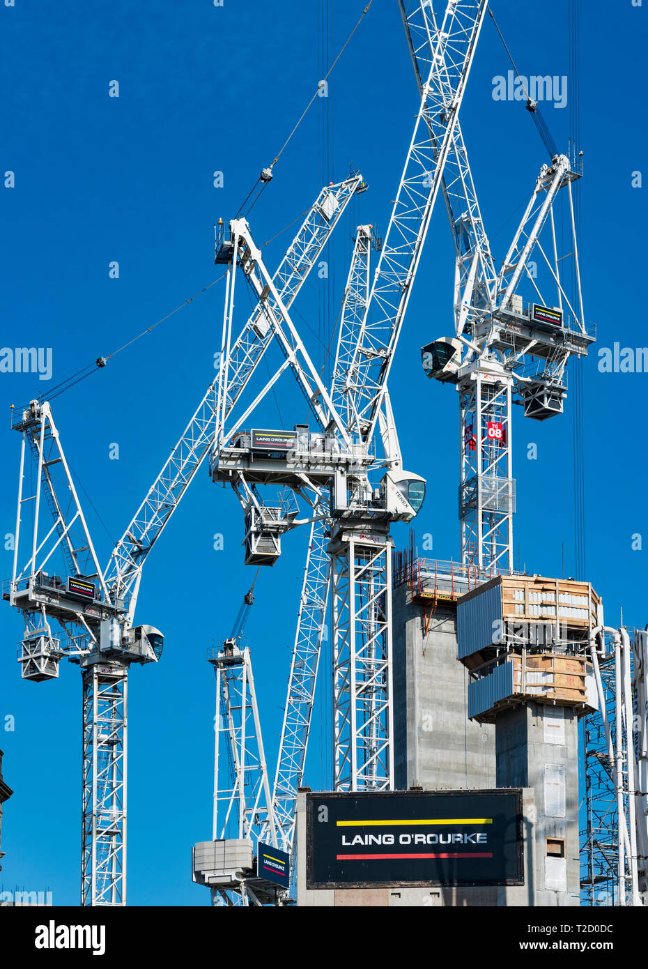 Many construction tower cranes at construction site of redevelopment of St James Centre in Edinburgh, Scotland UK - Stock Image