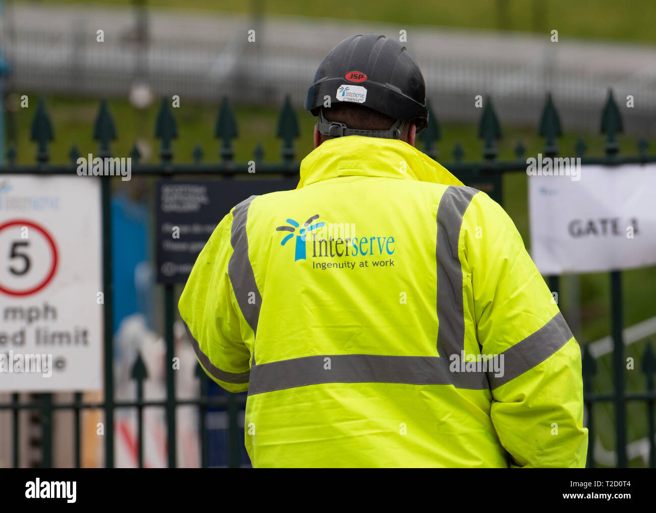 Edinburgh, Scotland, UK. 1 April, 2019. General views of Interserve construction site at the Royal Scottish Academy and Scottish National Gallery art  - Stock Image