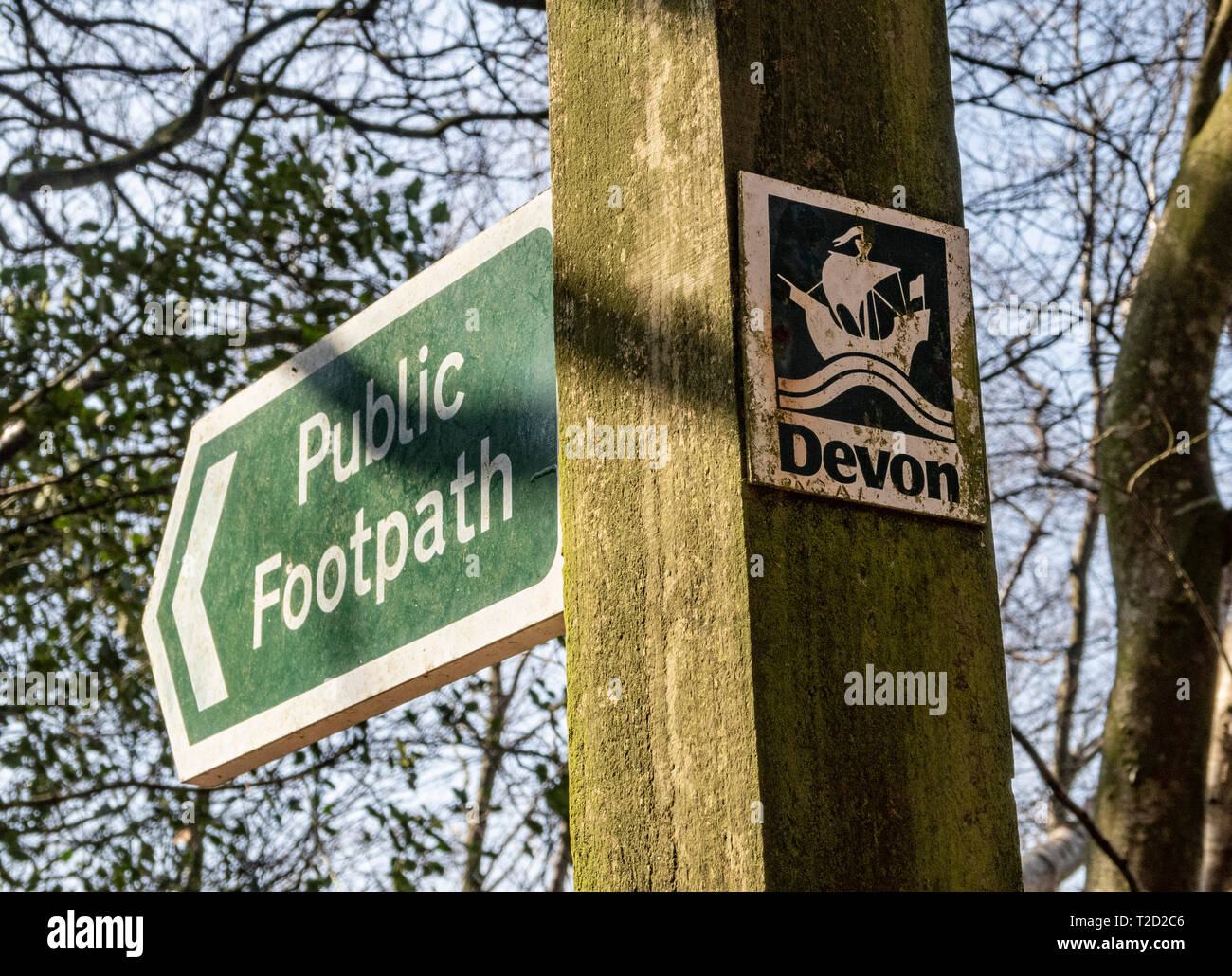 Public footpath with Devon sign. Stock Photo