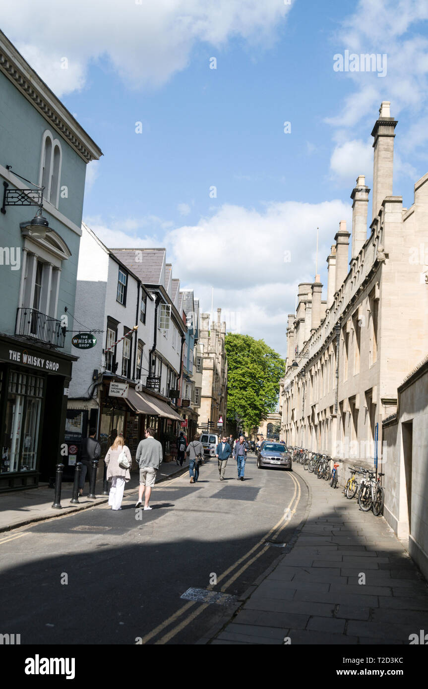 Lincoln College on right in Turfs Lane in Oxford,Britain - Stock Image