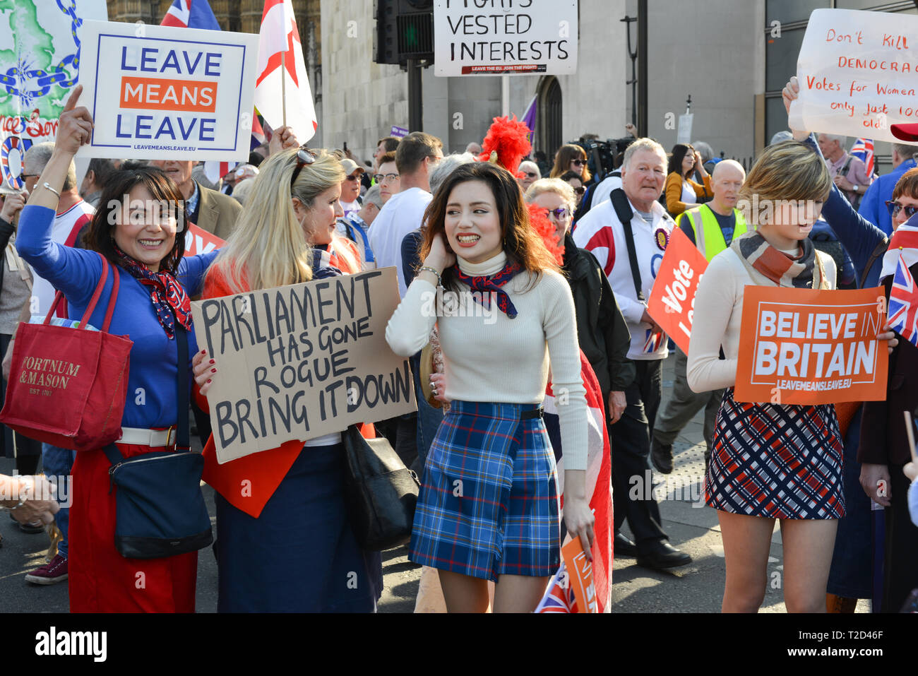 London, UK. 29th March, 2019. Pro-Brexit Activists demonstrate opposite Houses Of Parliament, on the day the UK was supposed to be leaving the EU. - Stock Image