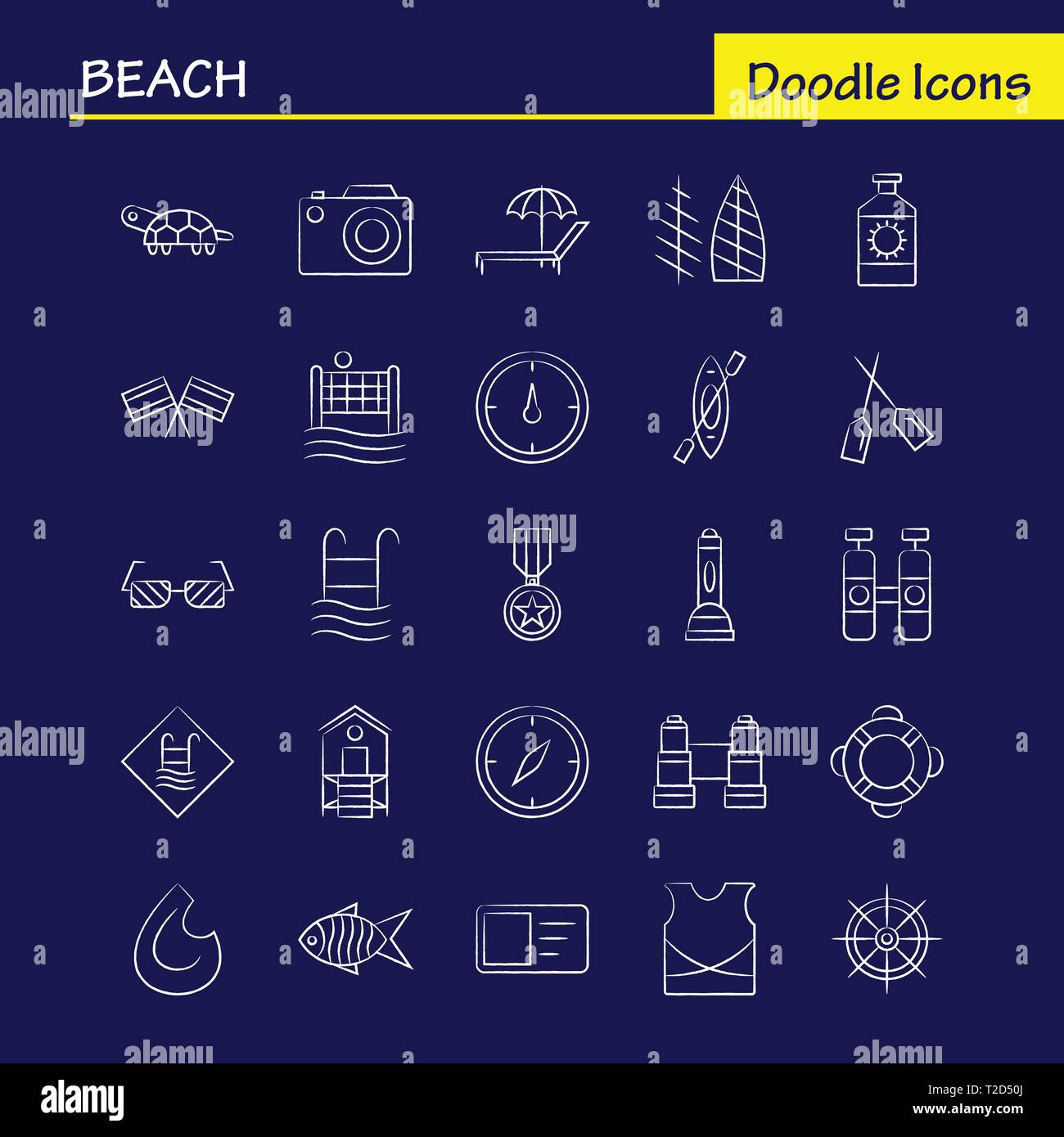 Beach Hand Drawn Icon for Web, Print and Mobile UX/UI Kit. Such as: Protein, Bottle, Drink, Sport, Beach, Net, Sports, Volley, Pictogram Pack. - Vecto - Stock Vector