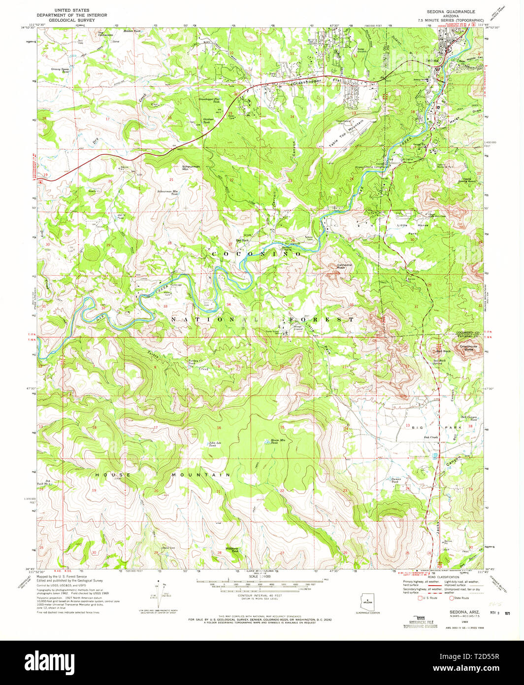 Map Of Arizona Including Sedona.Usgs Topo Map Arizona Az Sedona 313303 1969 24000 Restoration Stock