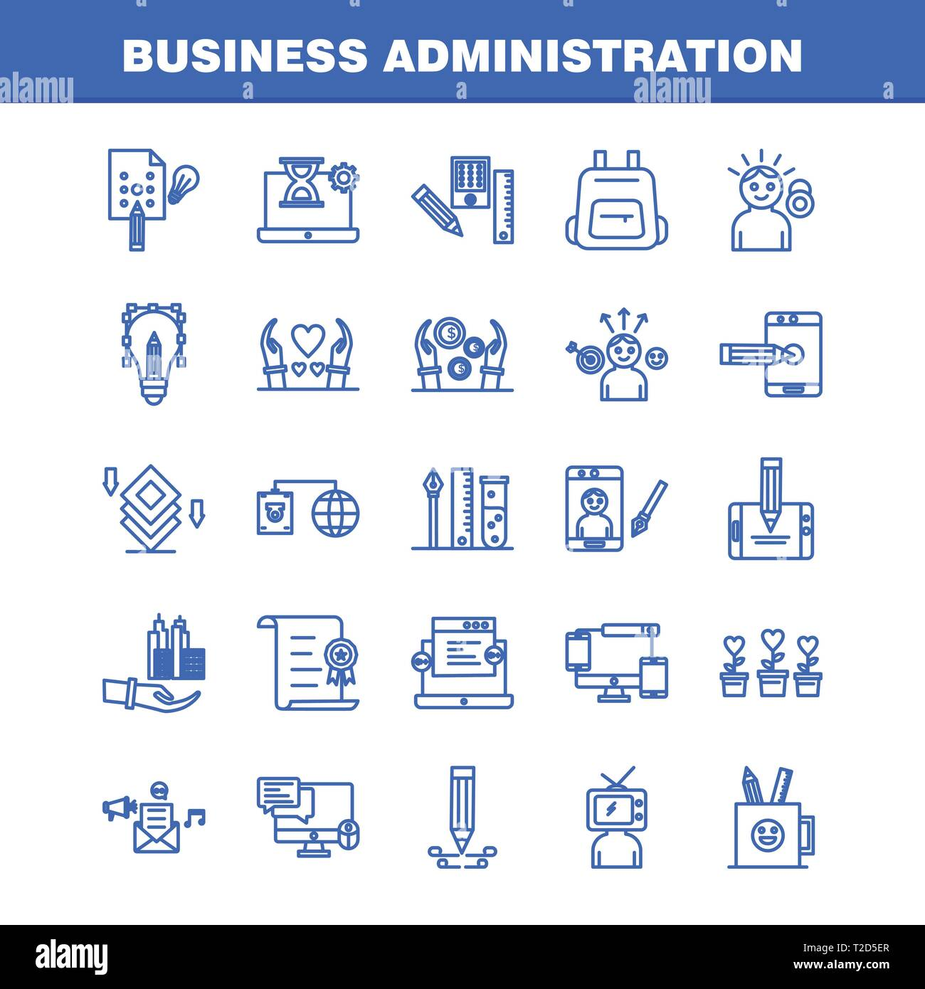 Business Administration Degree >> Business Administration Line Icons Set For Infographics
