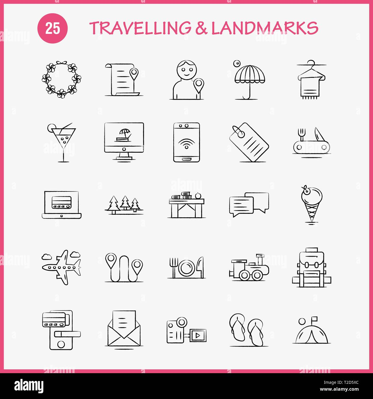 Travelling And Landmarks Hand Drawn Icon for Web, Print and ... on