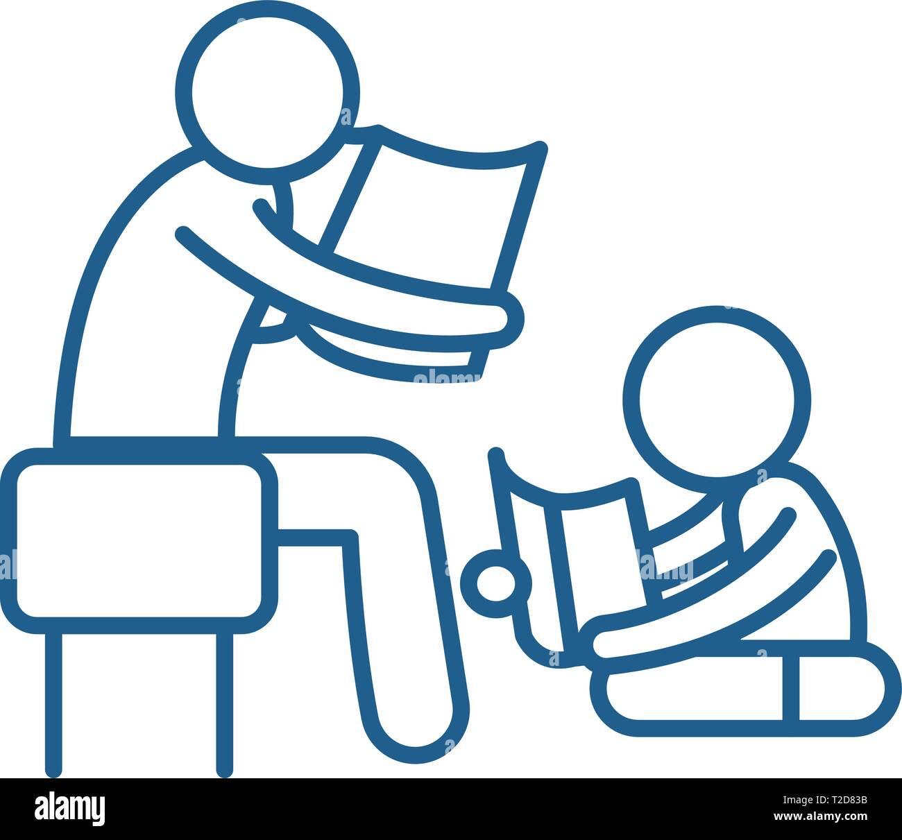 Parent reading a story to a child line icon concept. Parent reading a story to a child flat  vector symbol, sign, outline illustration. - Stock Image