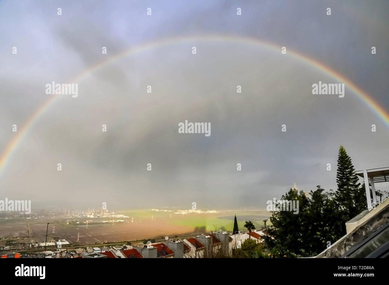 Rainbow over Haifa, and Haifa Bay Israel - Stock Image