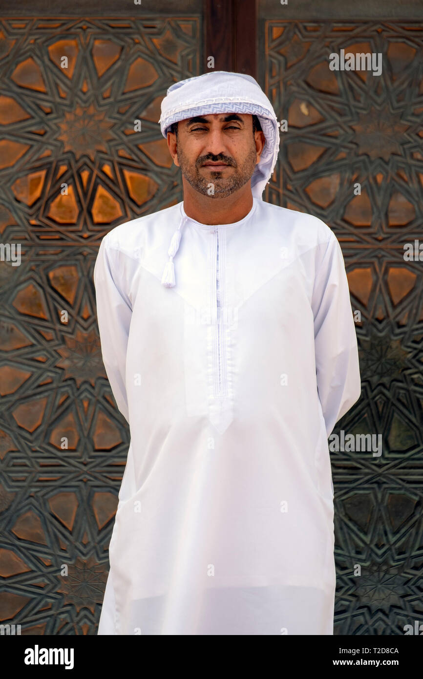 Arab man wearing traditional white clothing Stock Photo