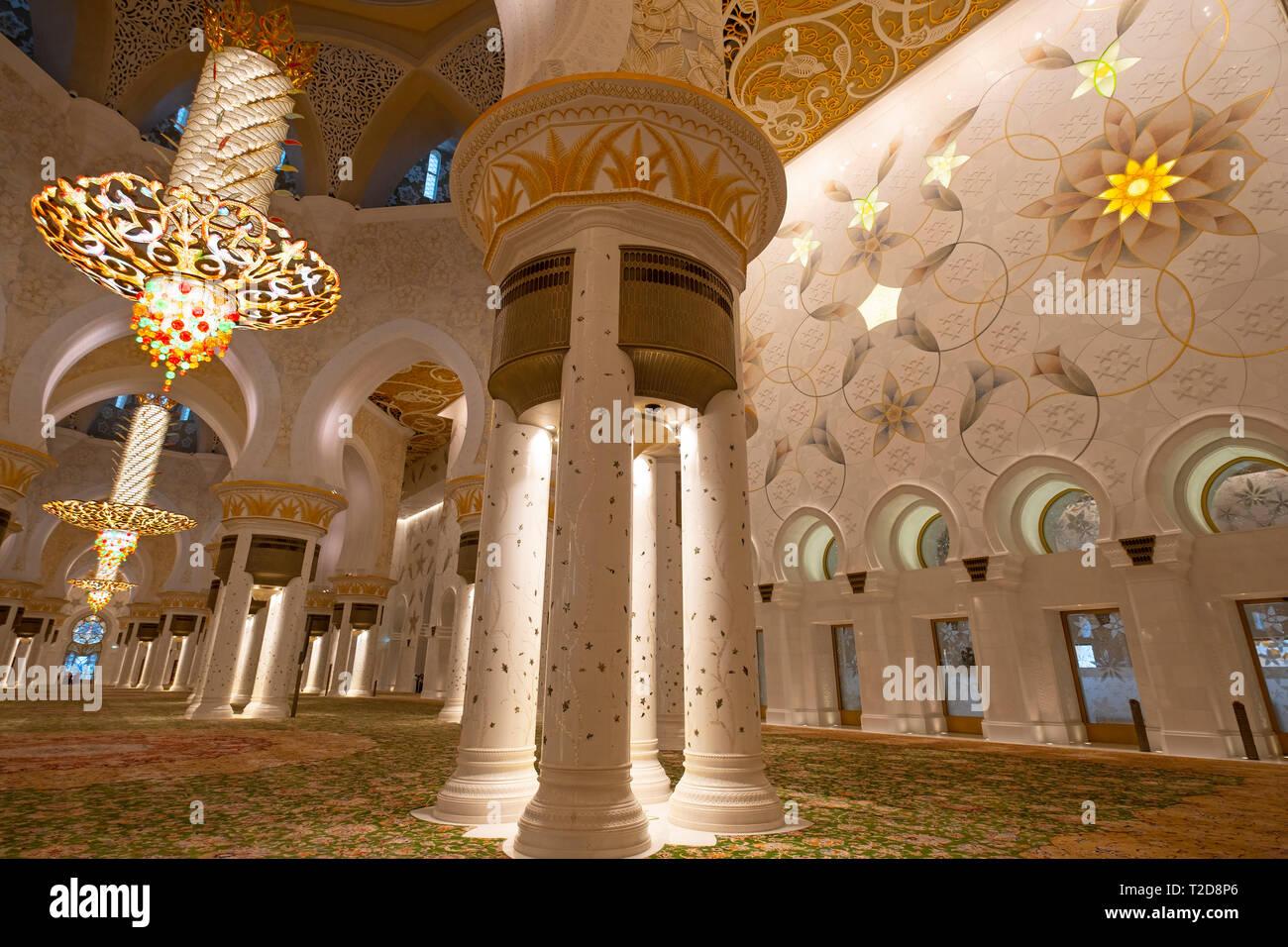 Sheikh Zayed Grand Mosque prayer hall, Abu Dhabi, United Arab Emirates - Stock Image