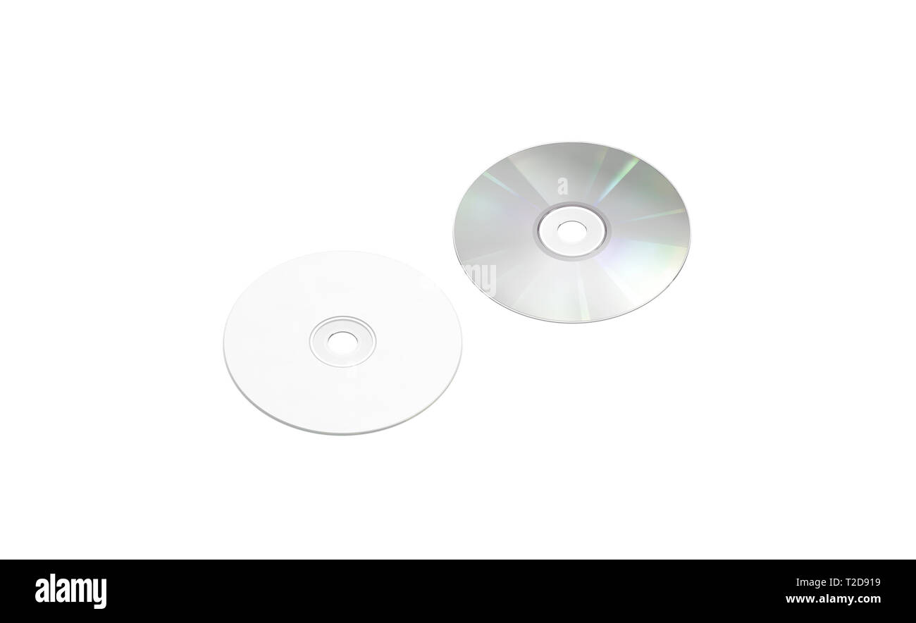 Blank white compact disk mockup, isolated, side view, front back, 3d rendering. Empty cd disc mock up. Clear music or movie storage. Round for save information template. - Stock Image