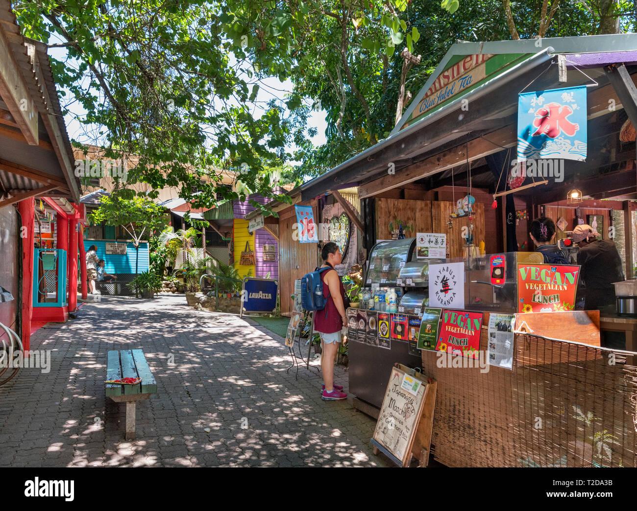 Food and drink stall at Kuranda Original Rainforest Markets, Kuranda, Atherton Tablelands, Far North Queensland, Australia - Stock Image