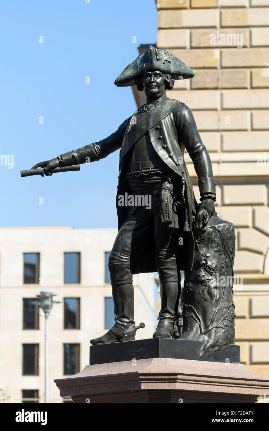 Berlin. Germany. Bronze statue of James Francis Edward Keith (Jakob von Keith, 1696-1758), Field Marshal in the Prussian Army, on Zietenplatz.  Jakob  - Stock Image