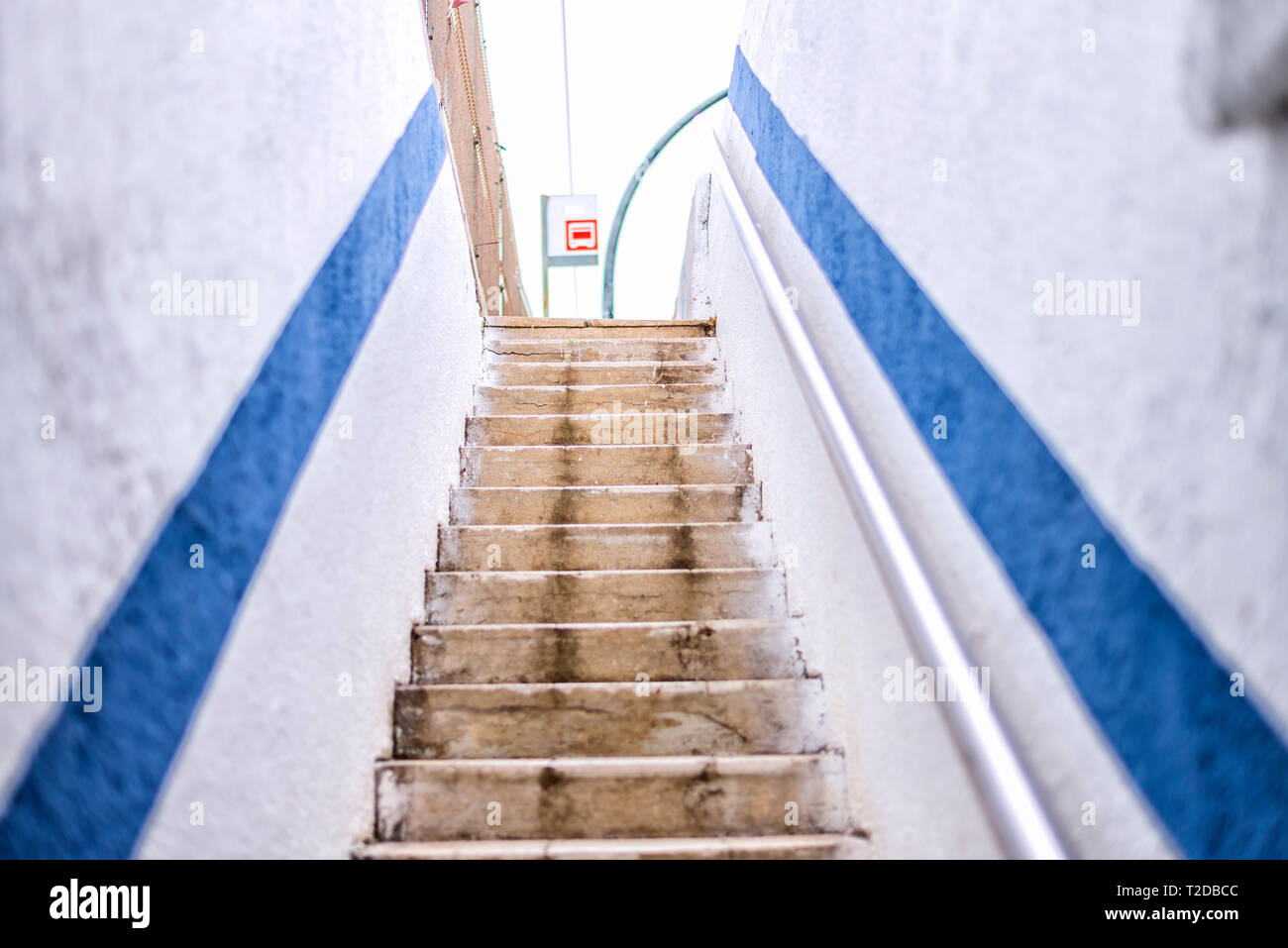 Empty staircase in railstation Stock Photo