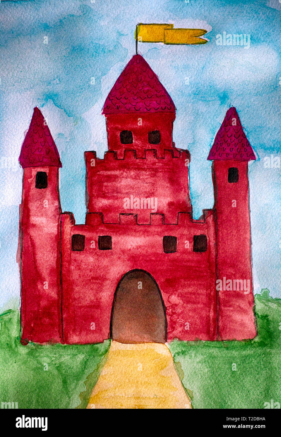 Castle. Watercolour child hand drawing. Close-up. - Stock Image