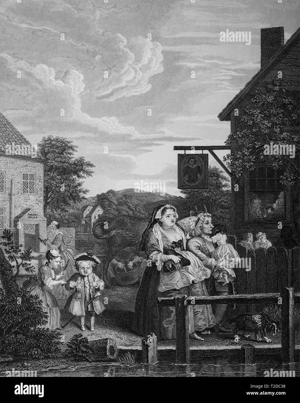 William Hogarth print engraving Times of the day Evening Stock Photo
