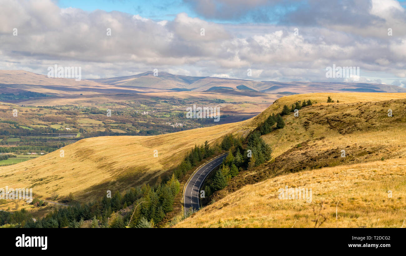 View over the Welsh landscape and clouds from the A4061 near Aberdare in Rhondda Cynon Taf, Mid Glamorgan, Wales, UK - Stock Image