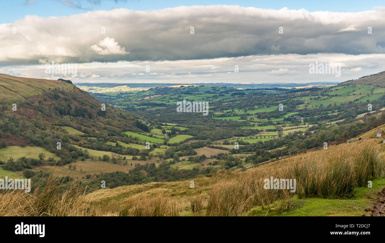 Landscape in the Brecon Beacons National Park seen from Sarn Helen near Ystradfellte in Powys, Wales, UK - Stock Image