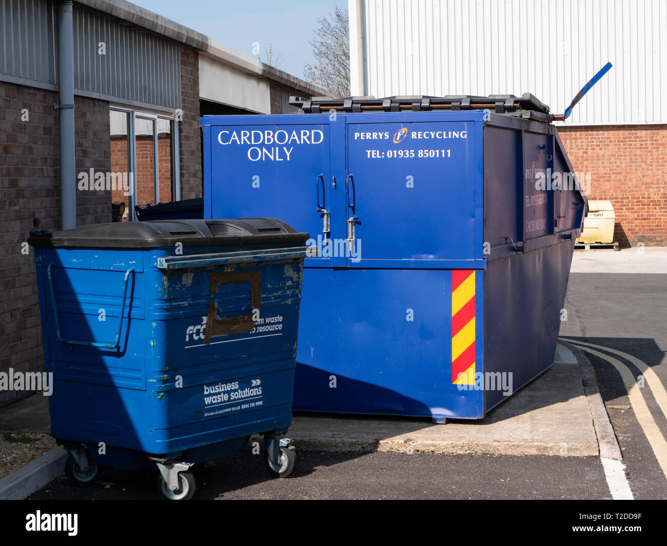 Recycling waste collection bins in Westbury, Wiltshire, UK. Stock Photo