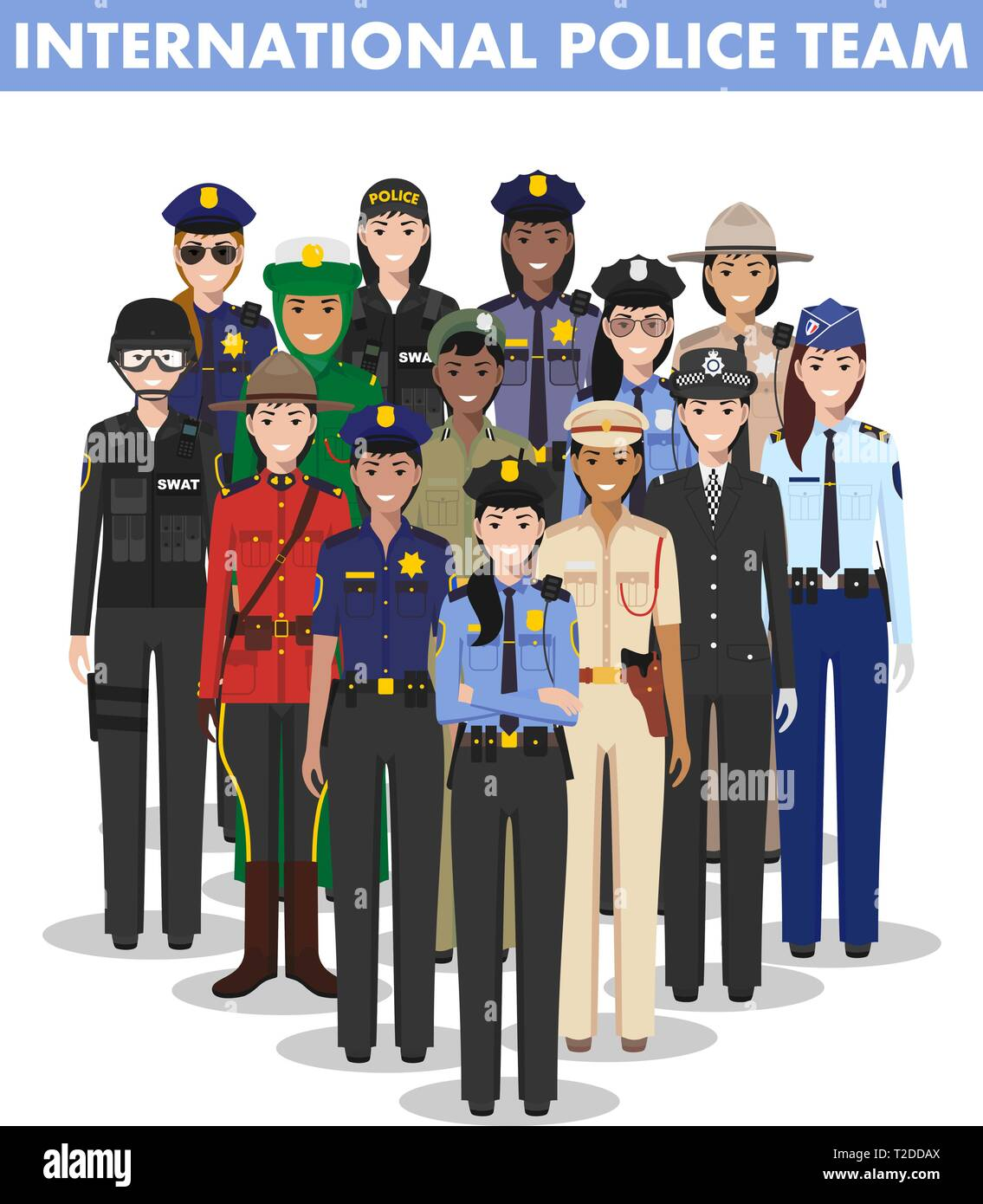 International police people concept. Detailed illustration of SWAT officer, policeman, policewoman and sheriff in flat style on white background - Stock Image