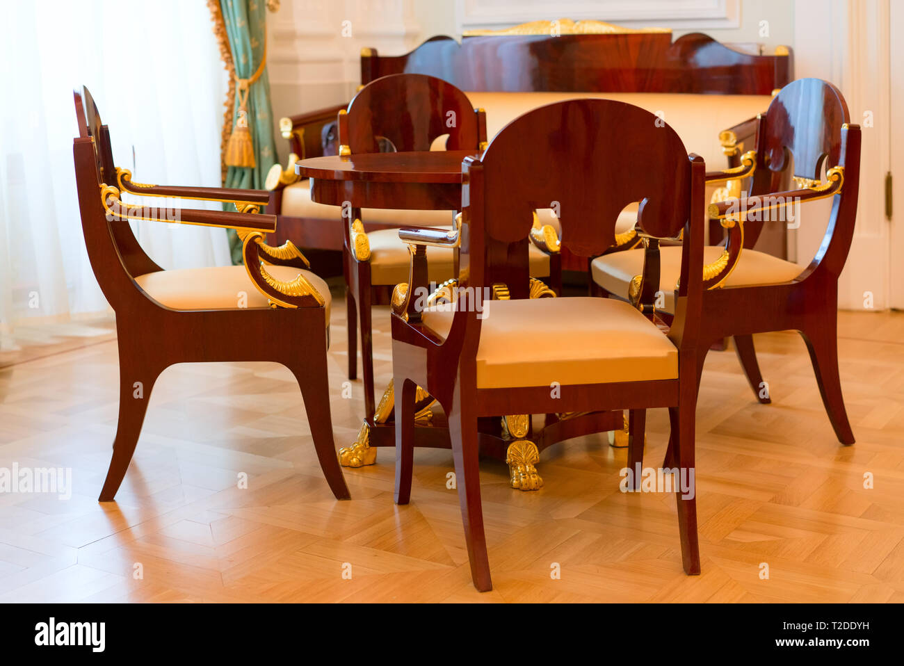 old style living room - chairs, sofa, table Stock Photo: 242470805 ...
