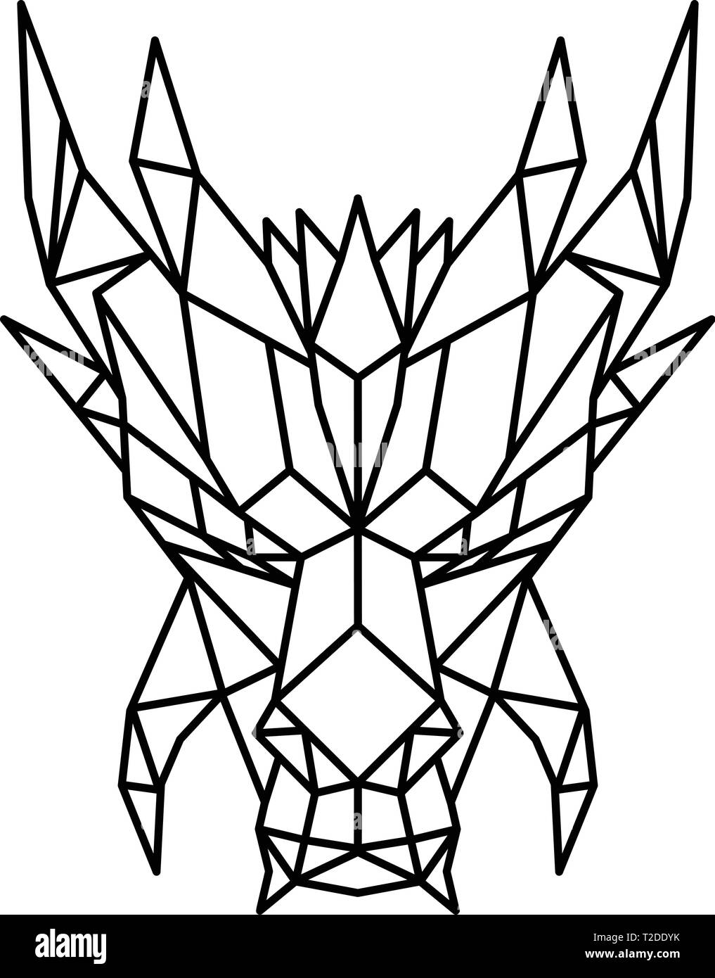 Low polygon style illustration of a head of a dragon, a serpent-like legendary creature that appears in folklore of many cultures viewed from front on - Stock Vector