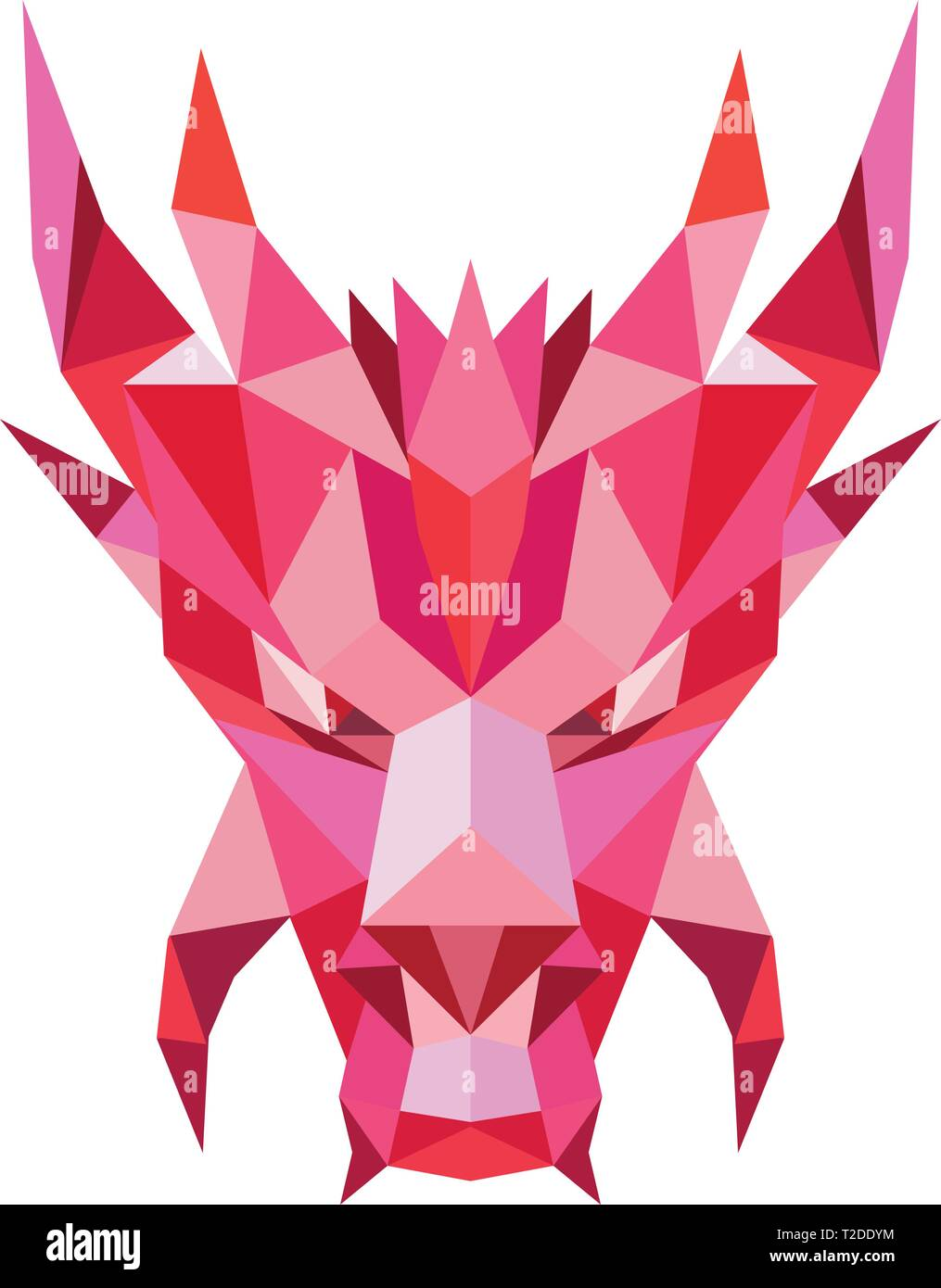 Low polygon style illustration of a head of a mythical dragon,serpent-like legendary creature that appears in  folklore of many cultures viewed from f - Stock Vector