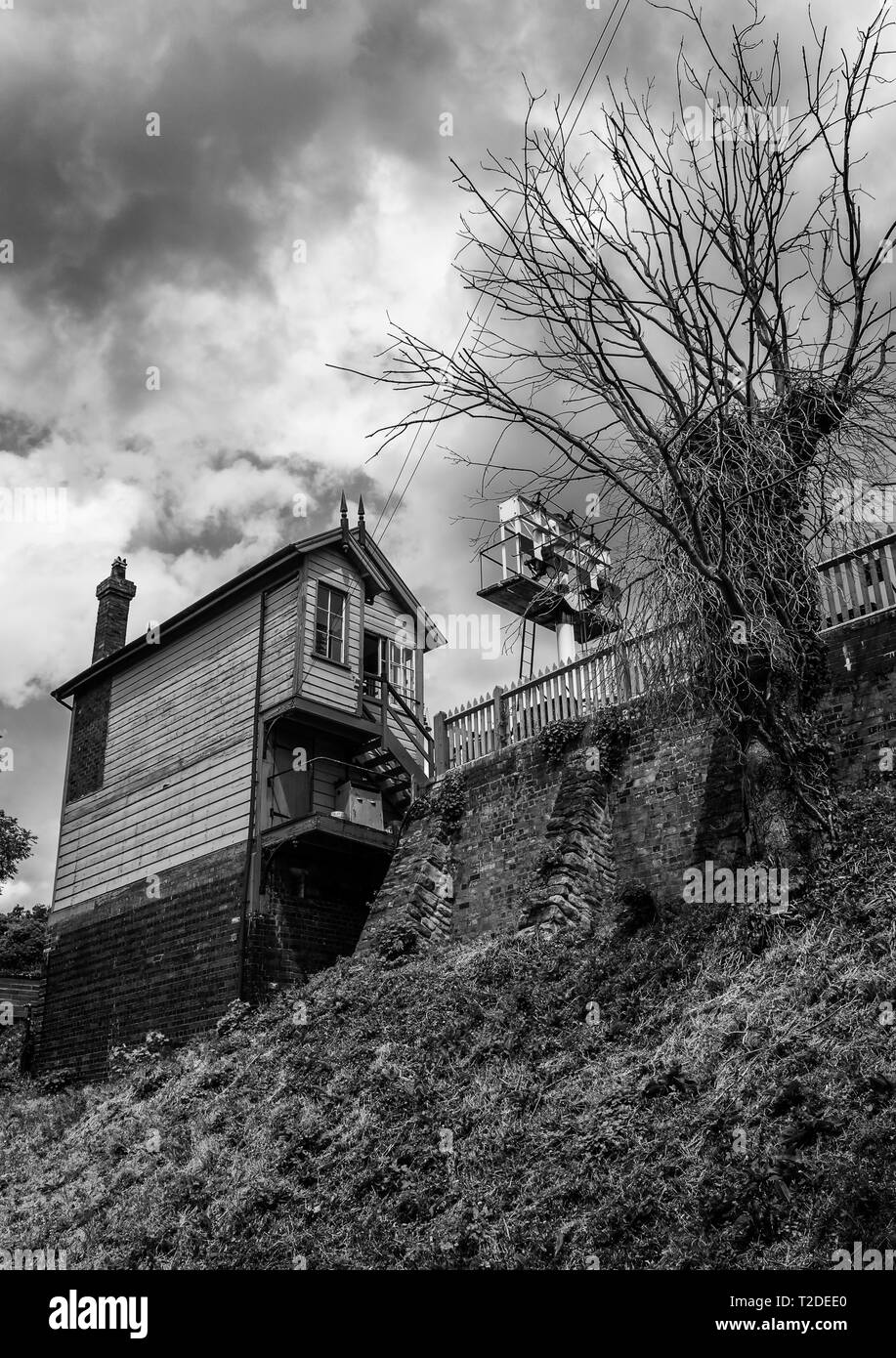Signal Box at Bewdley Station on the Severn Valley Railway Stock Photo