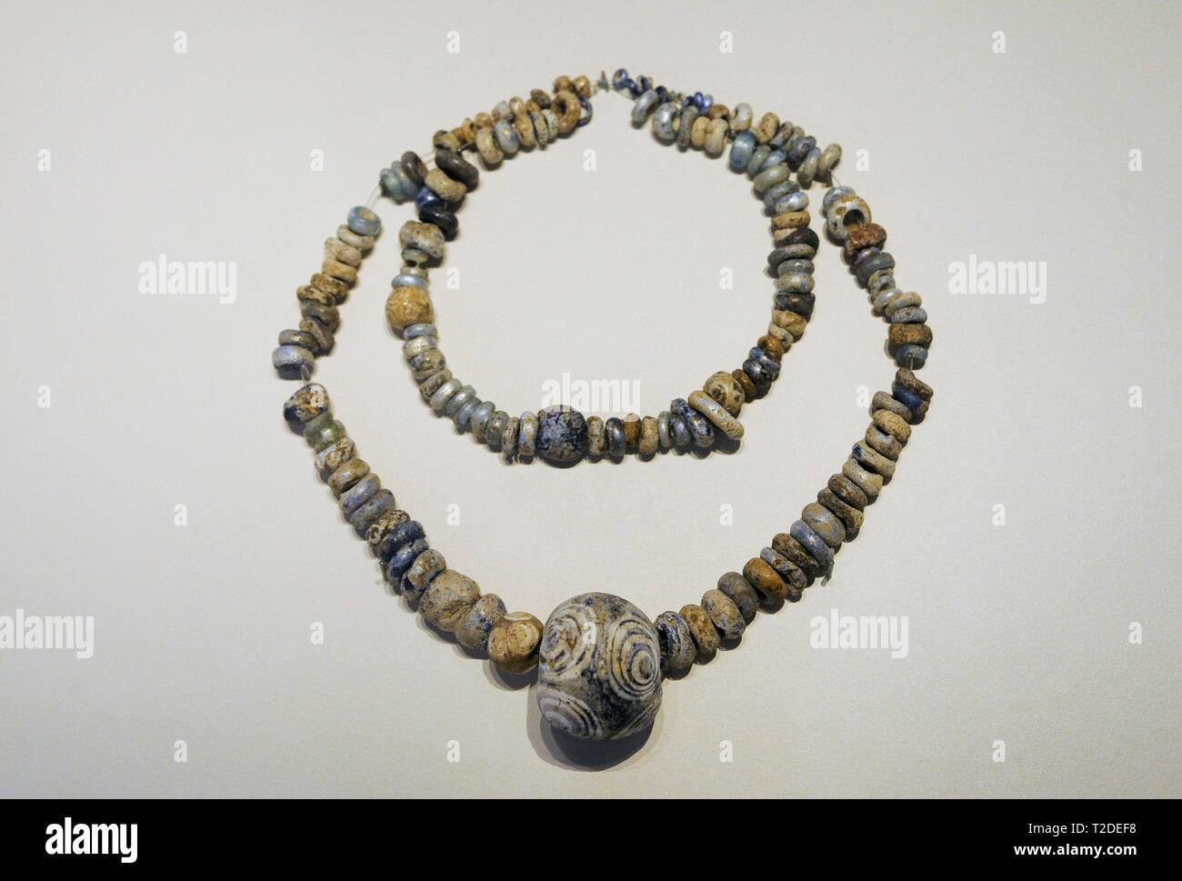 Necklace. 5th-2nd centuries BC. Post-Talayotic culture. Vitreous paste. From Massana Cave (Campanet, Majorca, Balearic Islands, Spain). National Archaeological Museum. Madrid. Spain. - Stock Image