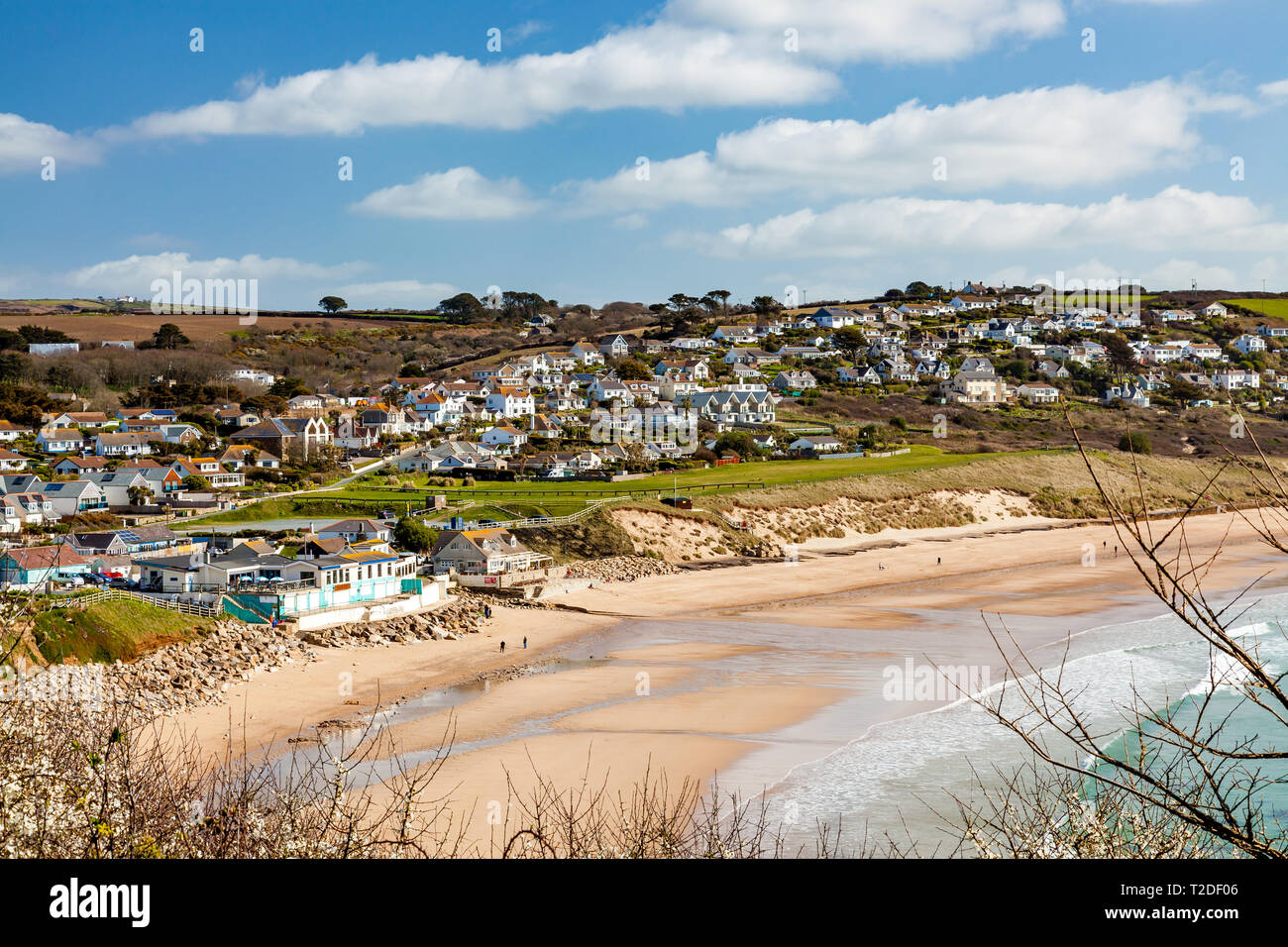 On the coast path approaching Sydney Cove at Praa Sands Cornwall England UK Europe - Stock Image