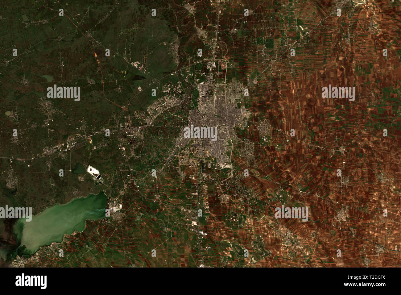 Homs and Qattinah Lake in Syria in February 2019 seen from space - contains modified Copernicus Sentinel Data (2019) - Stock Image