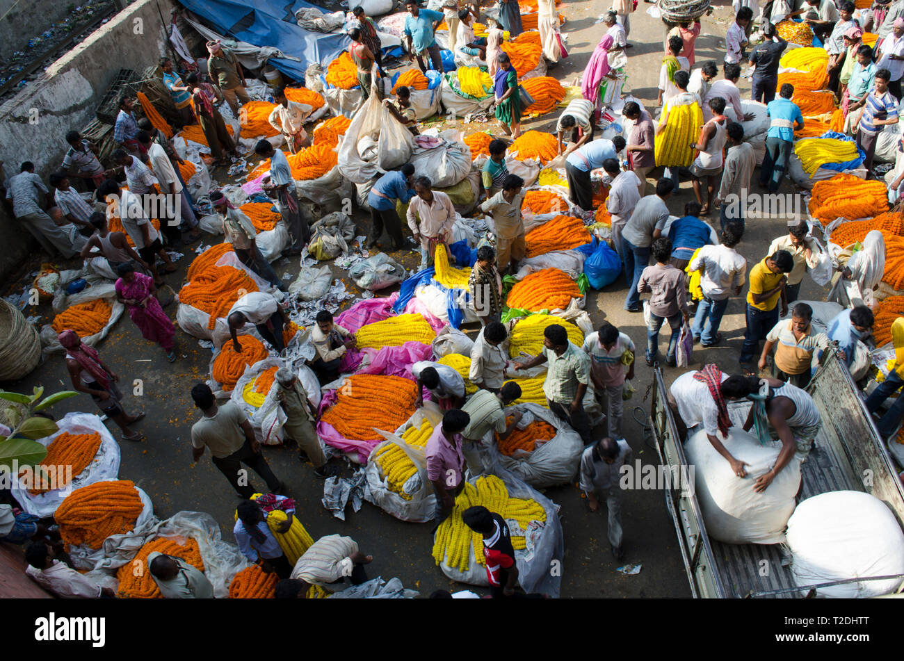 Busy flower market in Kolkata, India - Stock Image