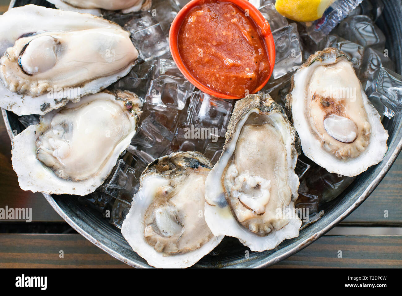 Oysters at Station 6, New Orleans, Louisiana. - Stock Image