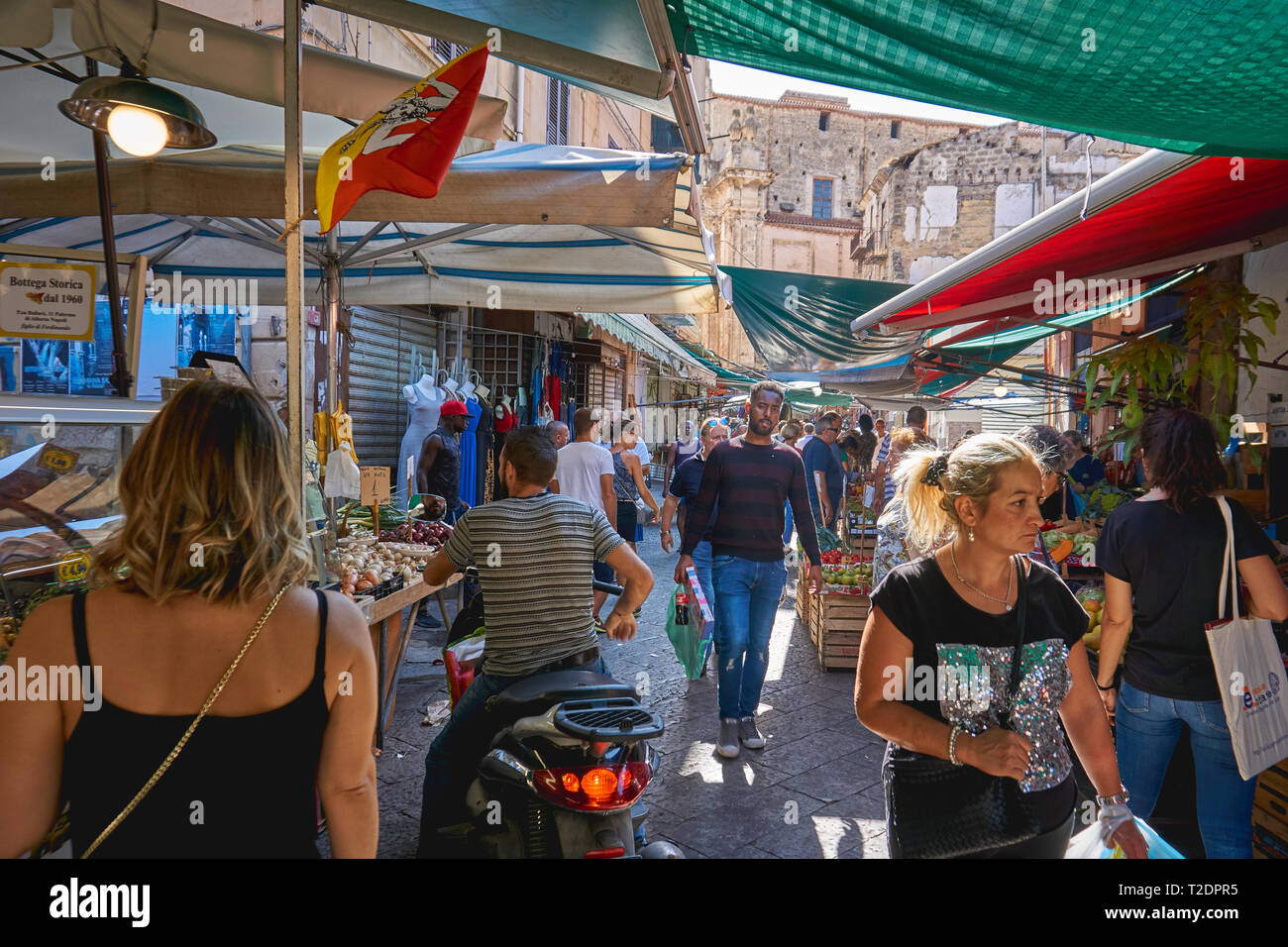 Palermo, Italy - September. 2018. Seafood and vegetable stalls in the Ballarò Market, the oldest food market in Palermo. - Stock Image
