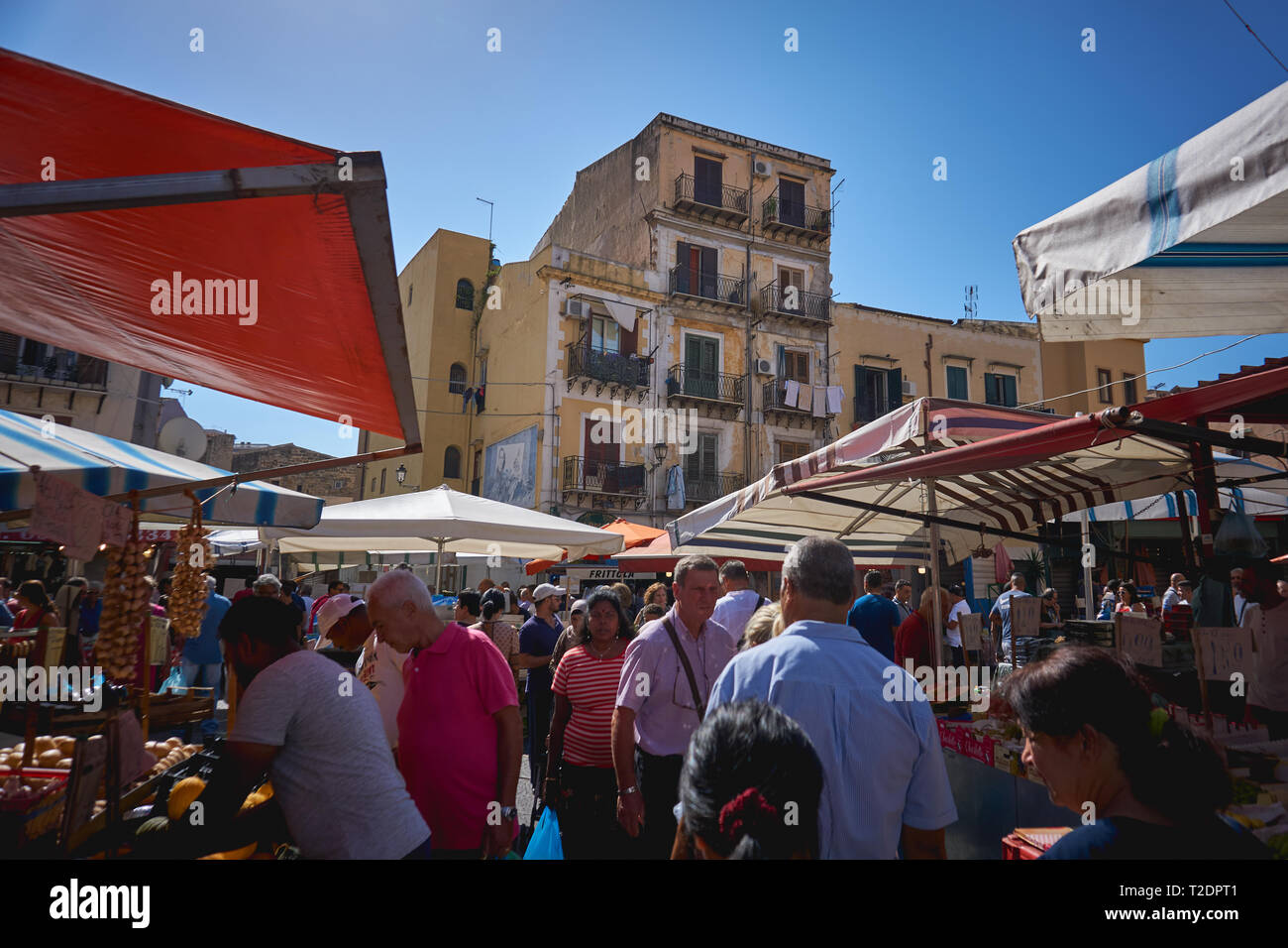 Palermo, Italy - September. 2018. Seafood and vegetable stalls in the Ballarò Market, the oldest food market in Palermo. Stock Photo