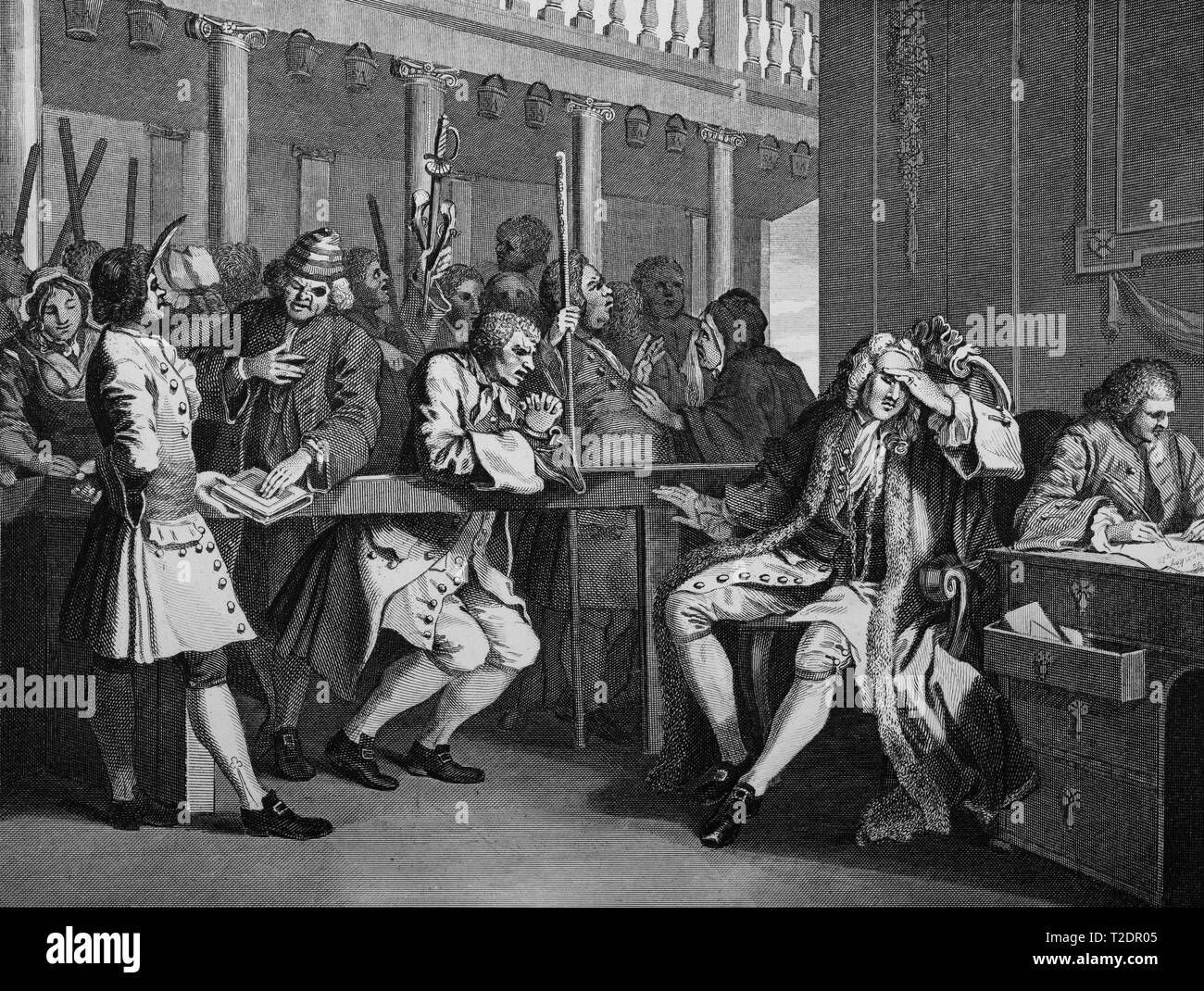William Hogarth print engraving Industry and Idleness Plate 10 The industrious Ôprentice Alderman of London. The idle one impeached before him by his accomplice Stock Photo