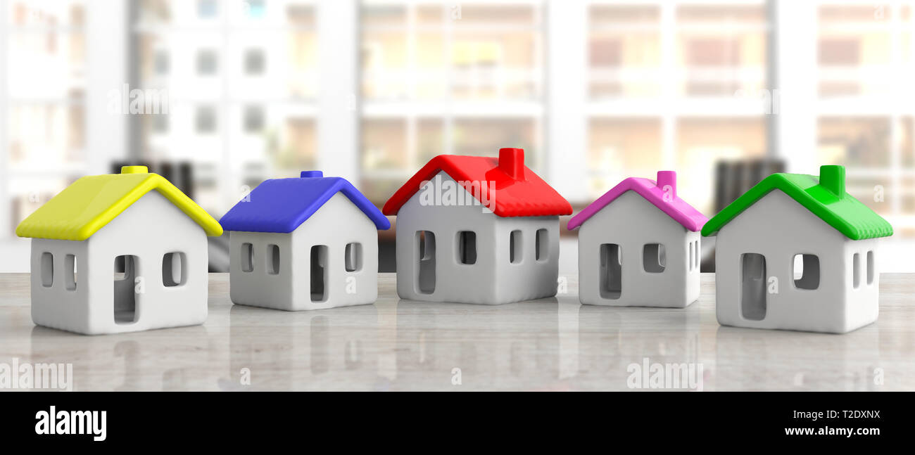Real Estate Housing Project Concept House Models On An