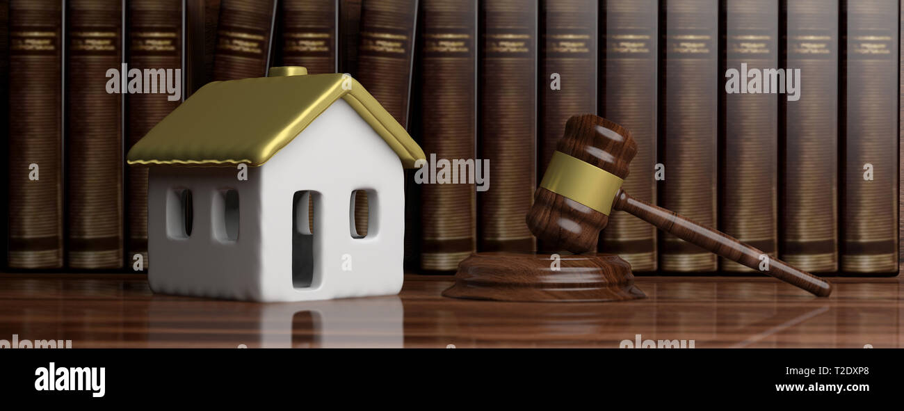House And Law House Model With Gold Roof And A Judge Gavel