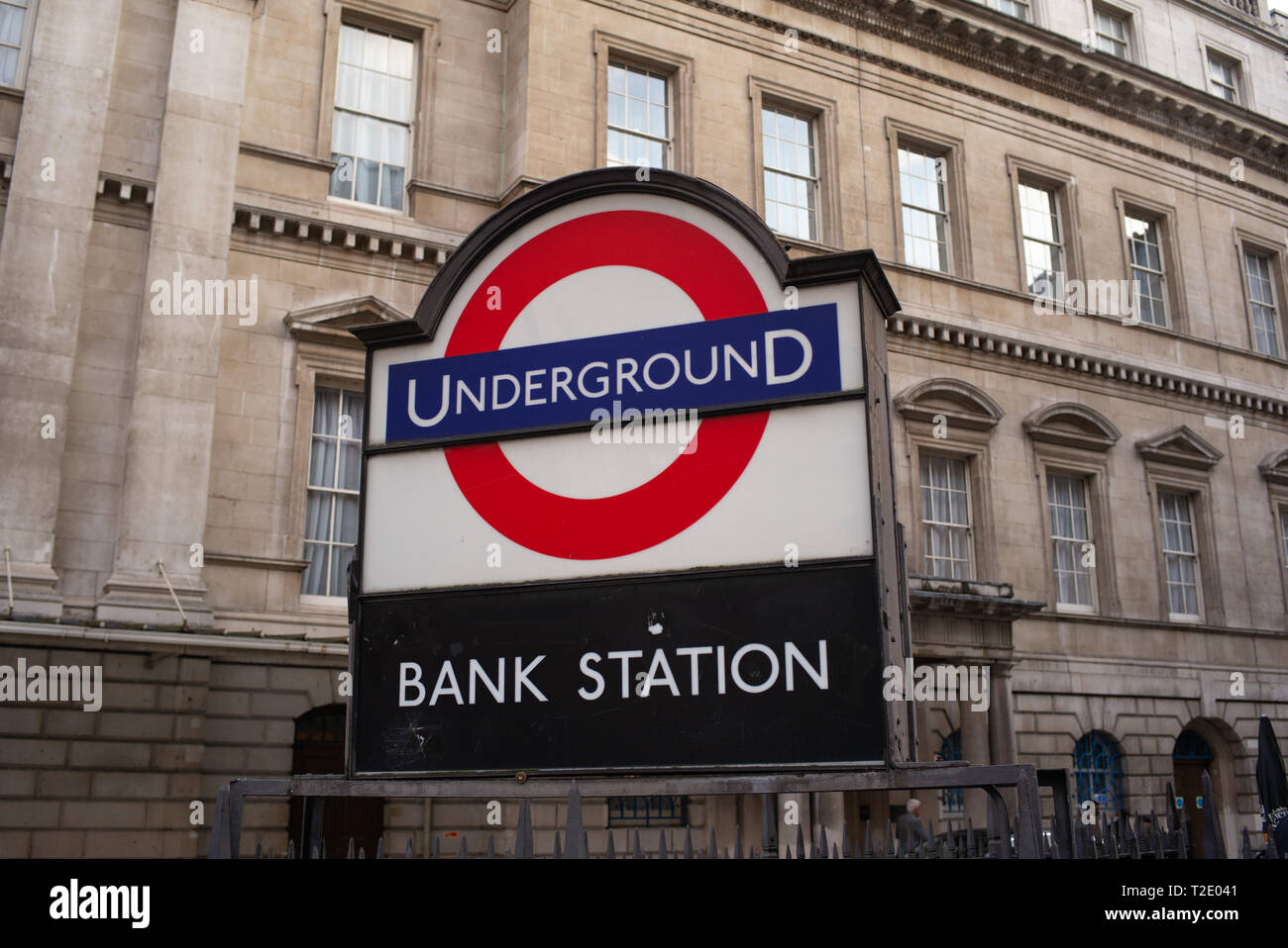 Bank Station underground sign in London England. - Stock Image