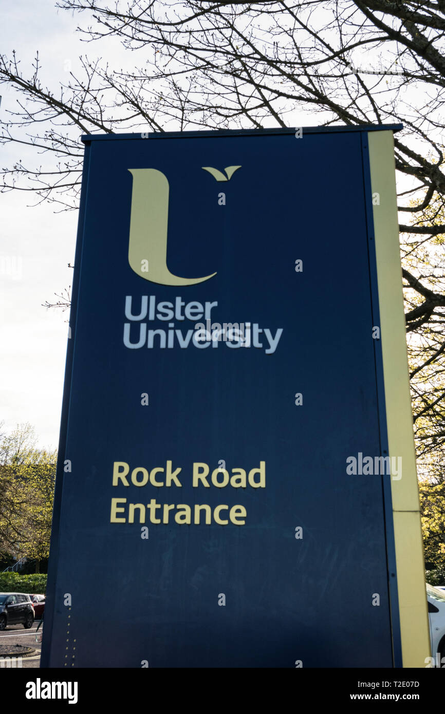 Derry, Northern Ireland -March 28, 2019:  Ulster University lsign at the Rock Road Entrance of the Magee Campus. - Stock Image