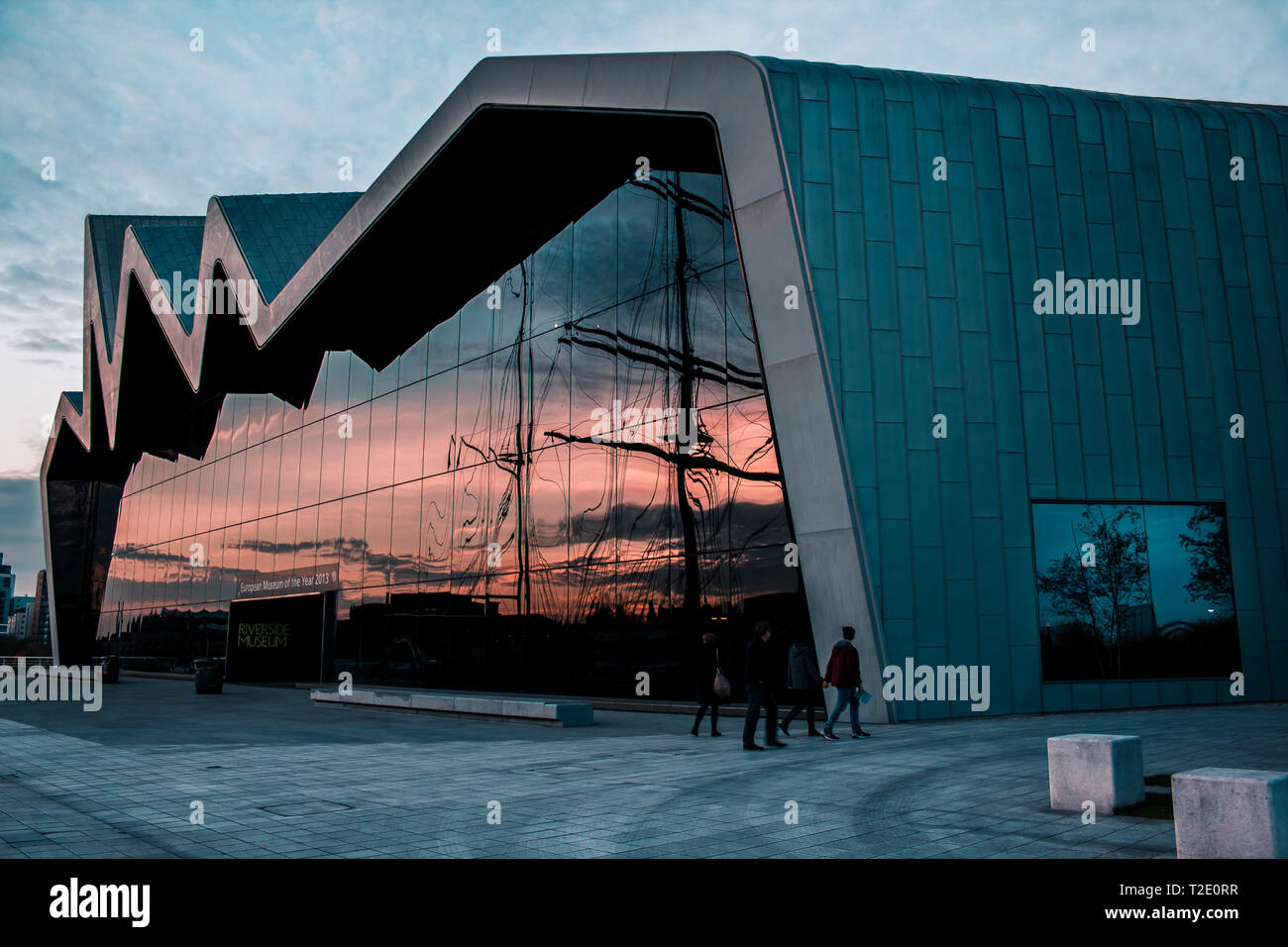The Riverside transport museum and tall ship on the River Clyde, Glasgow - Stock Image
