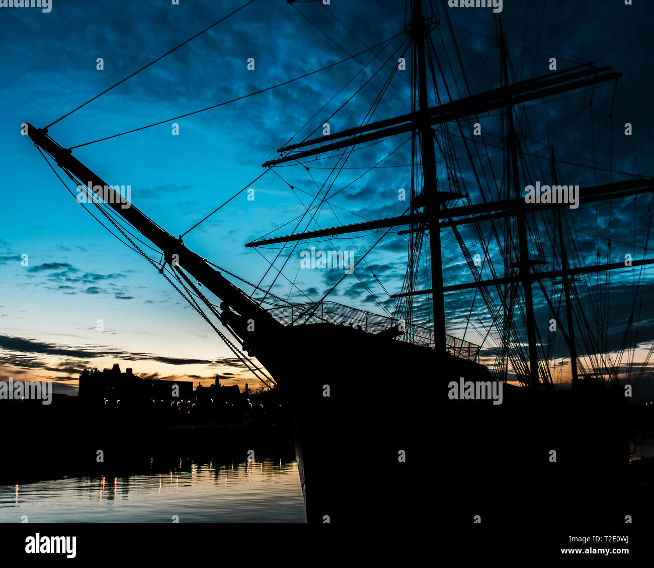 The Riverside transport museum tall ship on the River Clyde, Glasgow - Stock Image