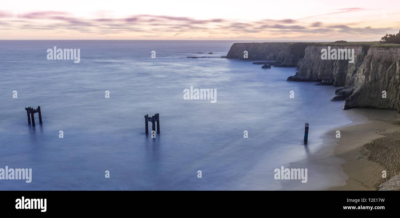 Twilight over Davenport Old Pier Bluffs. Stock Photo