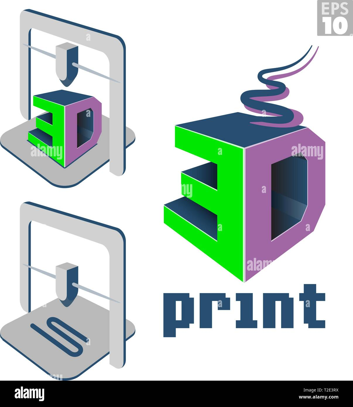 3D print logo with melted filament and 3d printer machine with printed designs. - Stock Vector