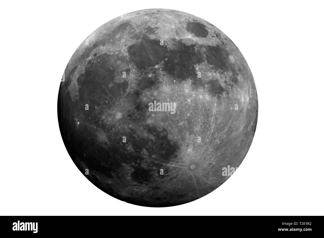 Model of waxing gibbous moon phase, isolated in the white, original is a photo taken with large diameter telescope of mine. - Stock Image