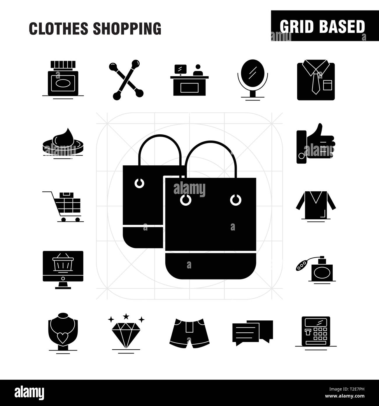 Clothes Shopping Solid Glyph Icon for Web, Print and Mobile UX/UI Kit. Such as: Shirt, Clothes, Fold, Folding, Dress, Beauty, Cosmetic, Cream, Pictogr - Stock Image