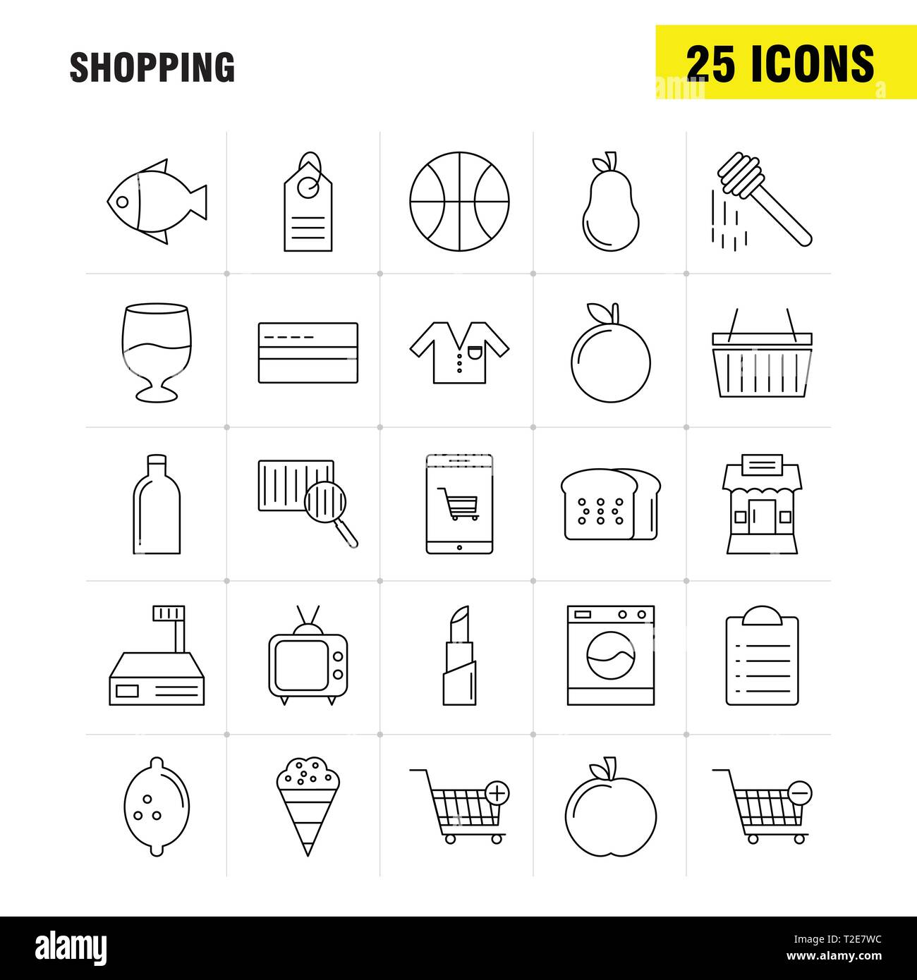 Shopping Line Icon for Web, Print and Mobile UX/UI Kit. Such as: Cart, Trolley, Buy, Add, Cart, Trolley, Buy, Remove, Pictogram Pack. - Vector - Stock Image