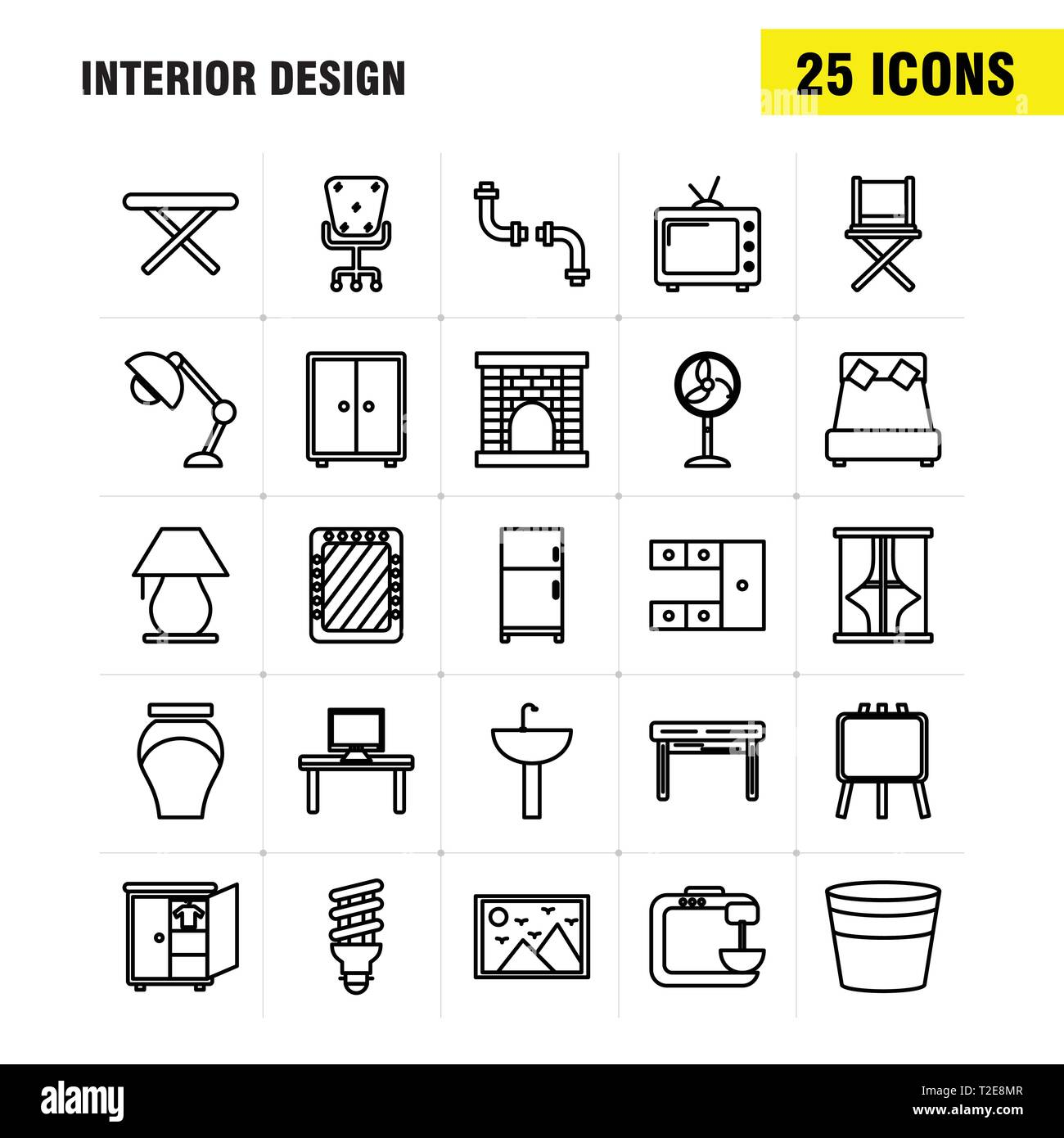 Interior Design Line Icons Set For Infographics Mobile Ux