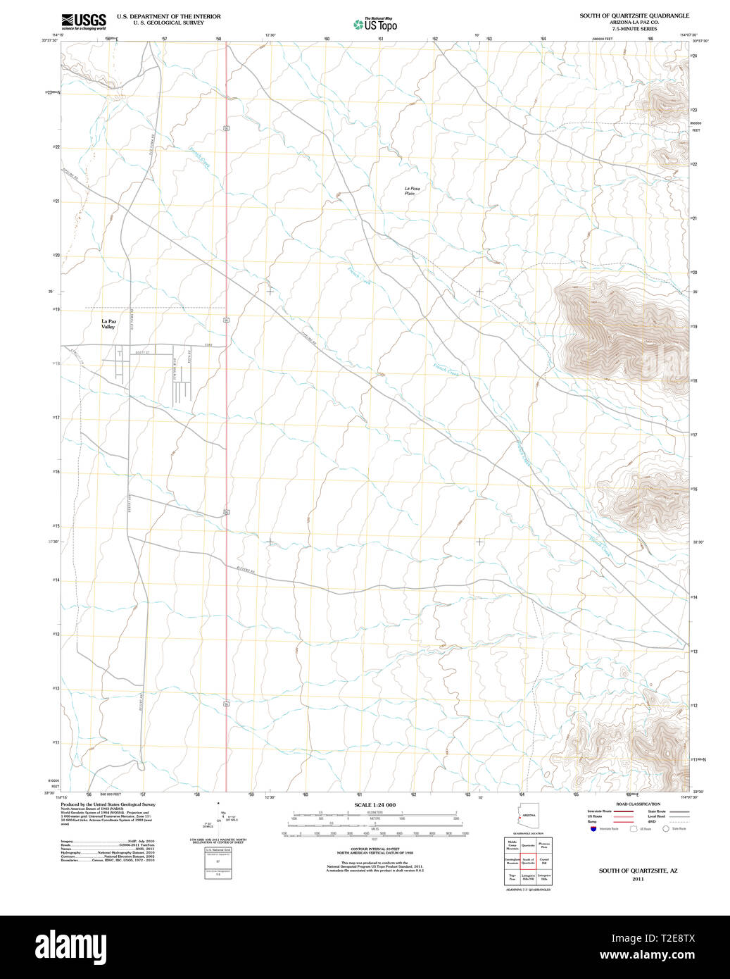 USGS TOPO Map Arizona AZ South of Quartzsite 20111123 TM Restoration Quartzsite Az Map on